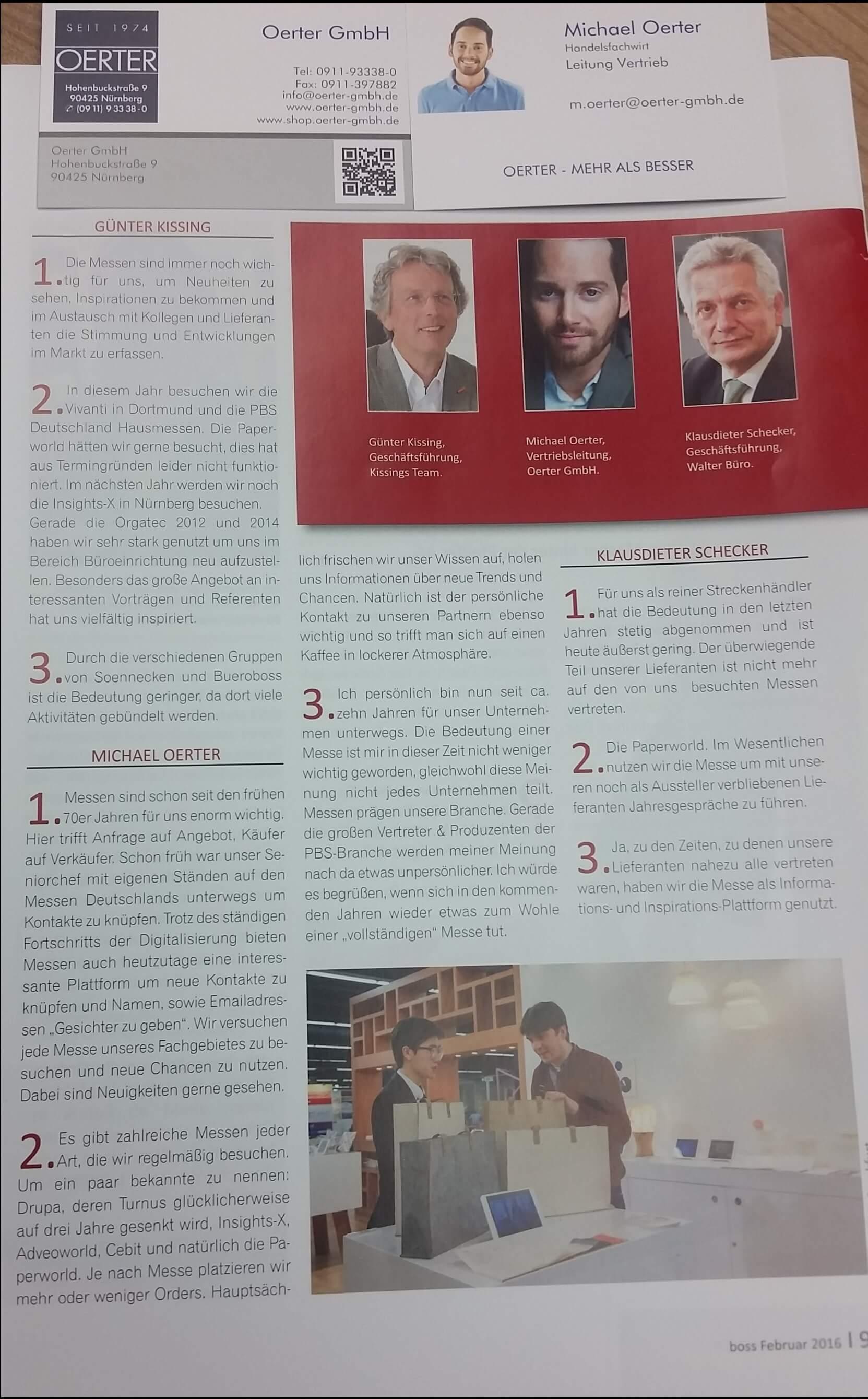 Bericht Michael Oerter BOSS magazin